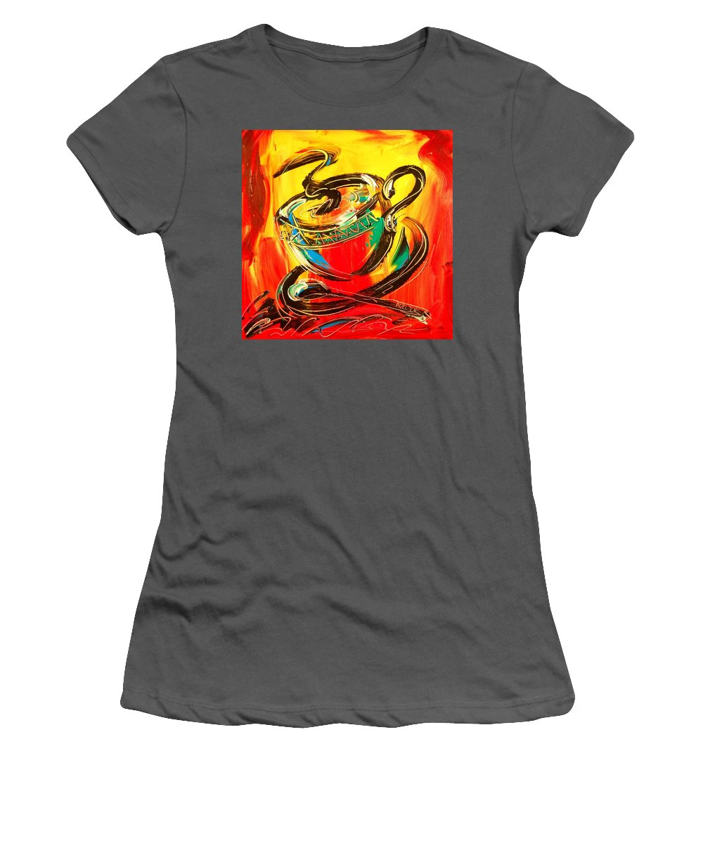 Coffeee Women's T-Shirt (Athletic Fit) featuring the painting Coffee by Mark Kazav