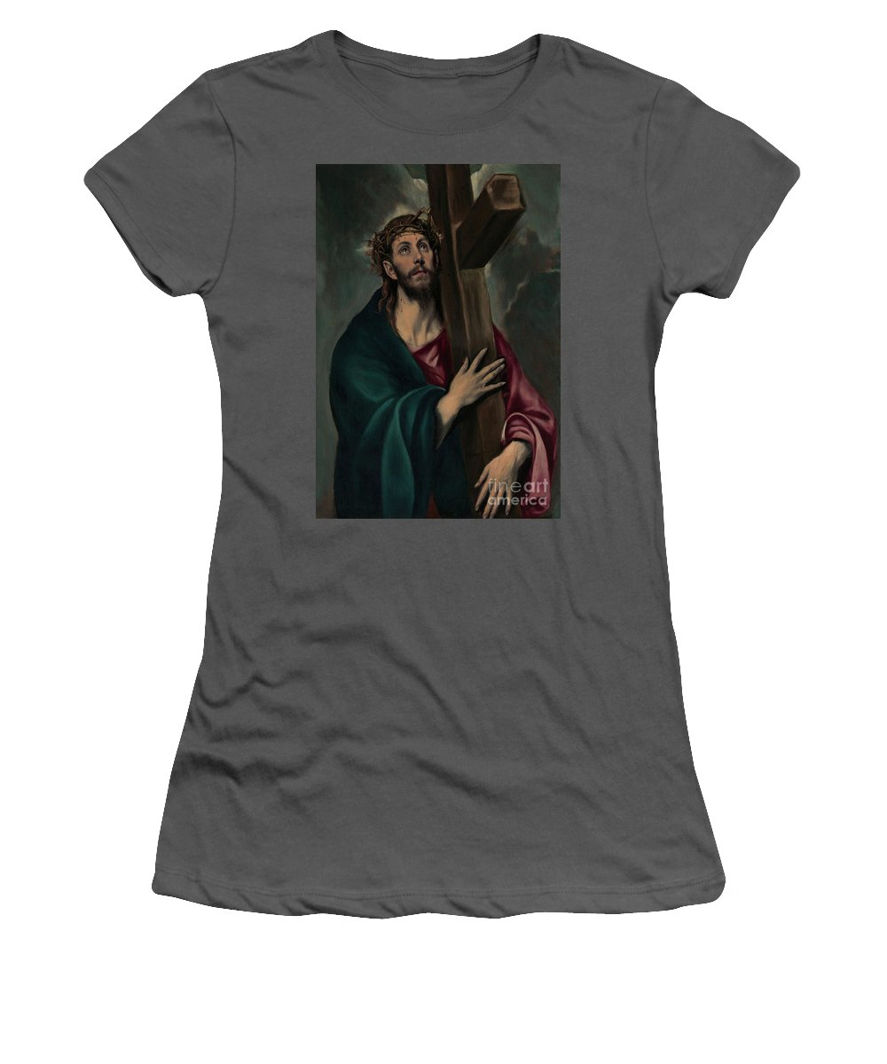 Christ Carrying The Cross Women's T-Shirt (Athletic Fit) featuring the painting Christ Carrying The Cross by El Greco