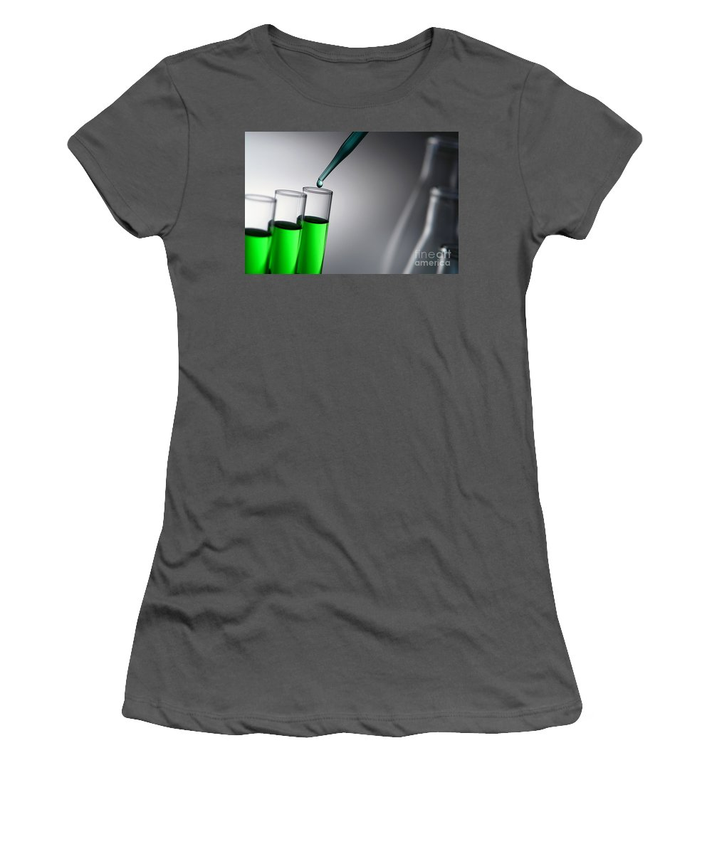Chemical Women's T-Shirt (Athletic Fit) featuring the photograph Laboratory Experiment In Science Research Lab by Olivier Le Queinec