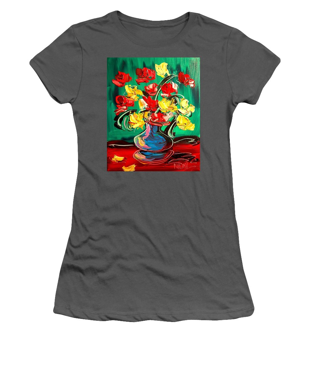 Newyork Women's T-Shirt (Athletic Fit) featuring the painting Roses by Mark Kazav
