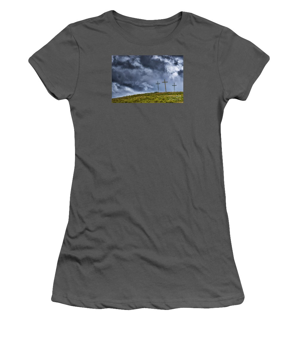 Cross Women's T-Shirt (Athletic Fit) featuring the photograph Three Crosses On Hill by Thomas R Fletcher