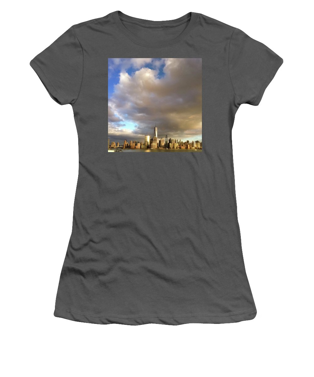 World Trade Center Women's T-Shirt (Athletic Fit) featuring the photograph A Cloudscape And Its Cityscape by John J Chen