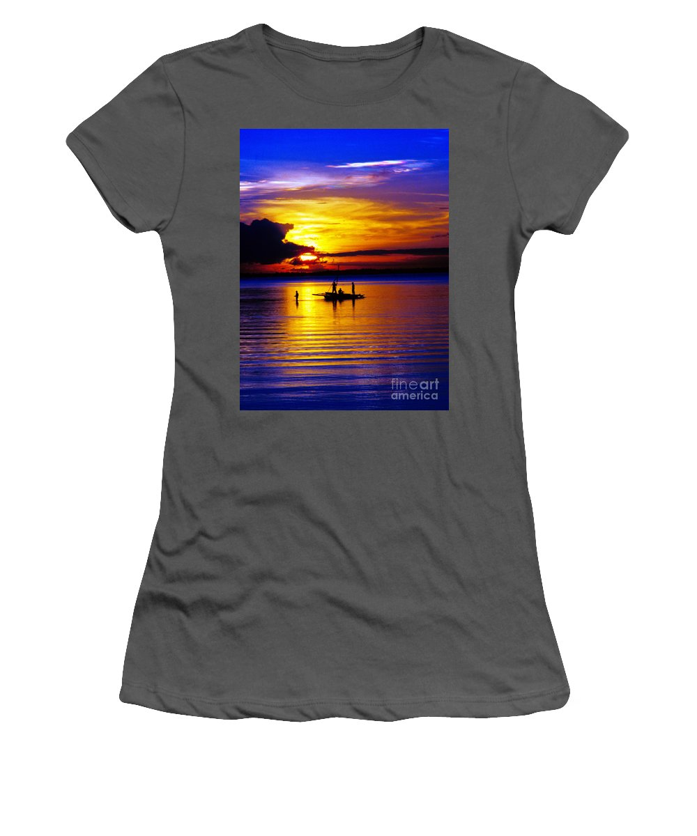 Sunset Women's T-Shirt (Athletic Fit) featuring the photograph A Colorful Golden Fishermen Sunset Vertical Print by James BO Insogna
