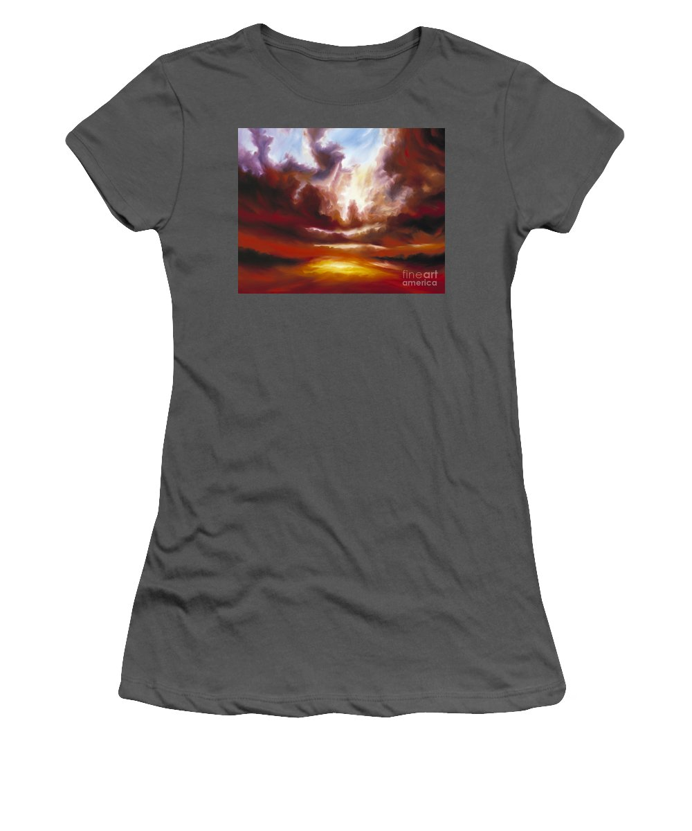Tempest Women's T-Shirt (Athletic Fit) featuring the painting A Cosmic Storm - Genesis V by James Christopher Hill