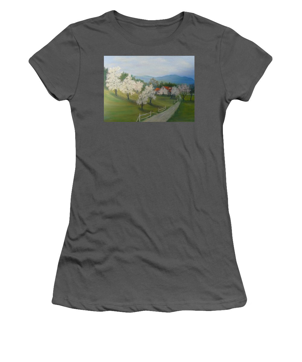 Landscape; Spring; Mountains; Country Road; House Women's T-Shirt (Athletic Fit) featuring the painting A Day In The Country by Ben Kiger