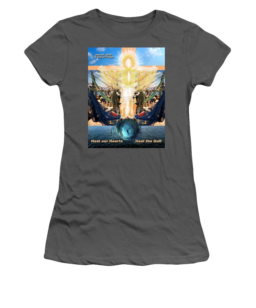 Gulf Women's T-Shirt (Athletic Fit) featuring the photograph A Day Of Prayer For The Gulf by Anne Cameron Cutri