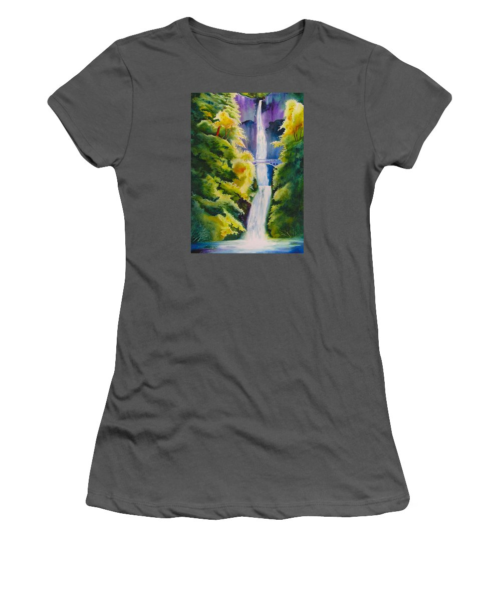 Waterfall Women's T-Shirt (Athletic Fit) featuring the painting A Favorite Place by Karen Stark
