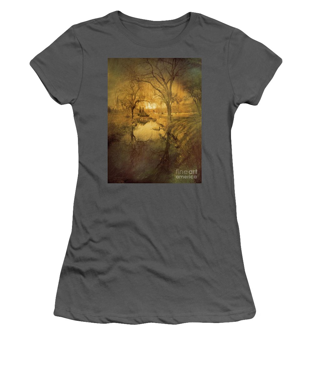 Trees Women's T-Shirt (Athletic Fit) featuring the photograph A Golden Winter 2 by Tara Turner
