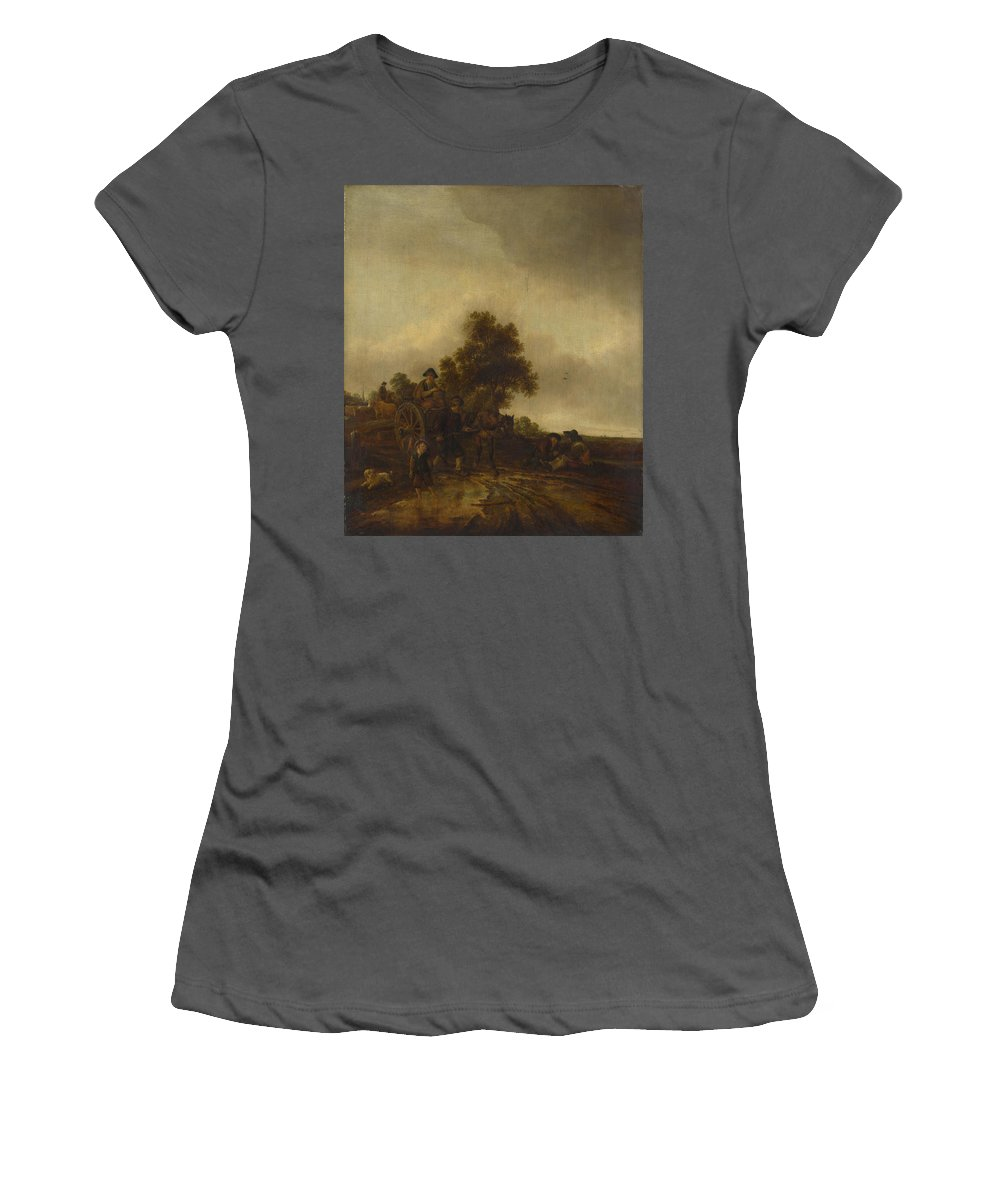 Isack Women's T-Shirt (Athletic Fit) featuring the digital art A Landscape With Peasants And A Cart by PixBreak Art