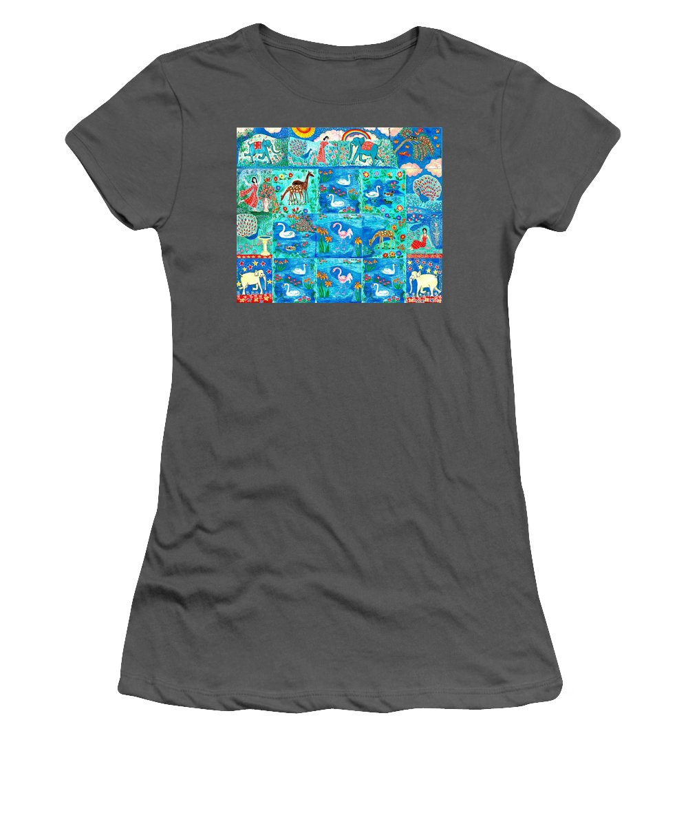 Sue Burgess Women's T-Shirt (Athletic Fit) featuring the painting A Magic Country by Sushila Burgess