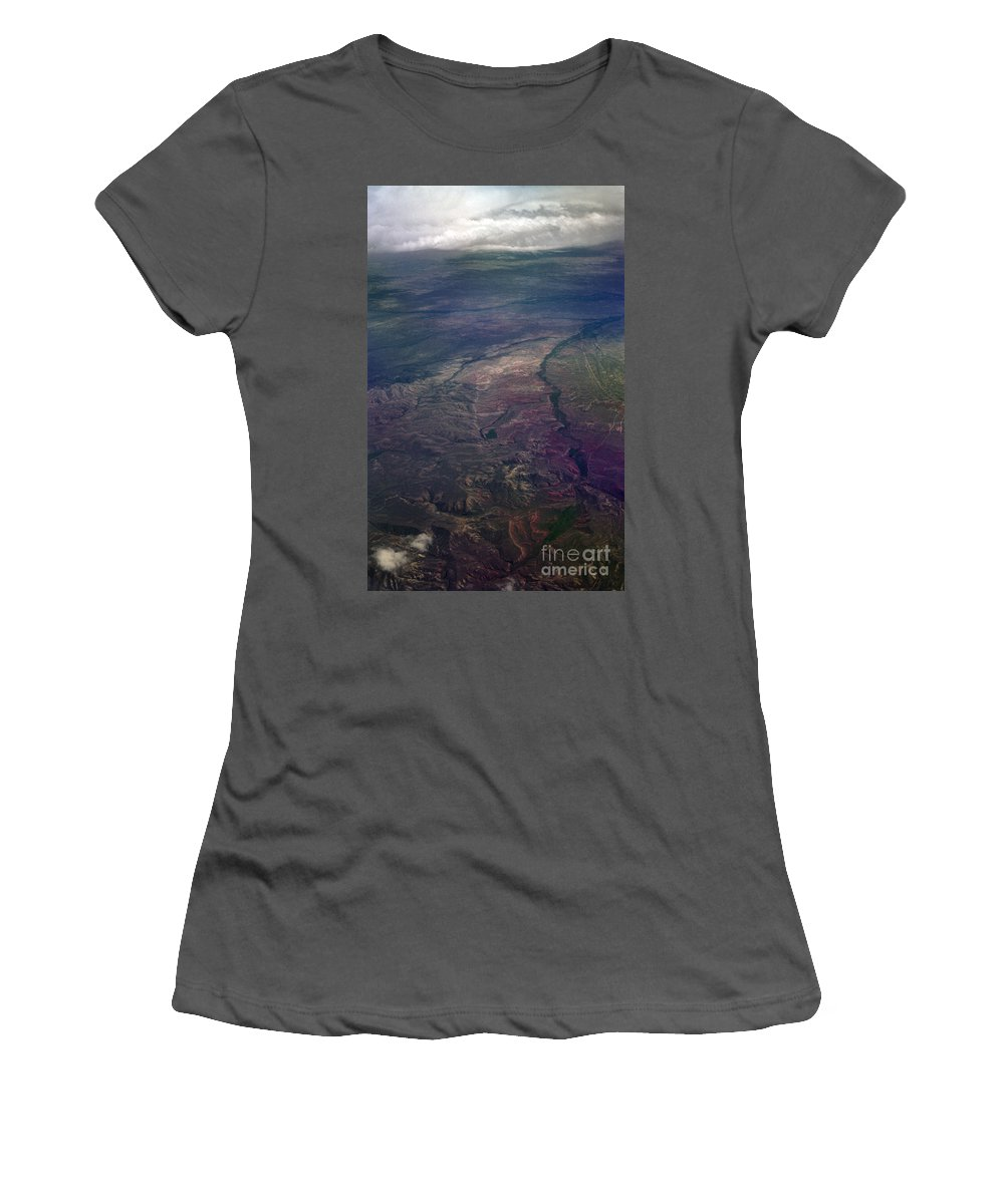 Aerial Photography Women's T-Shirt (Athletic Fit) featuring the photograph A Midwestern Landscape by Richard Rizzo