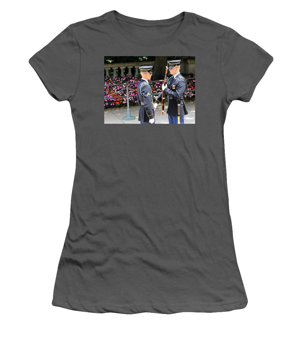 Changing Women's T-Shirt (Athletic Fit) featuring the photograph Face To Face During The Changing Of The Guard by Cora Wandel