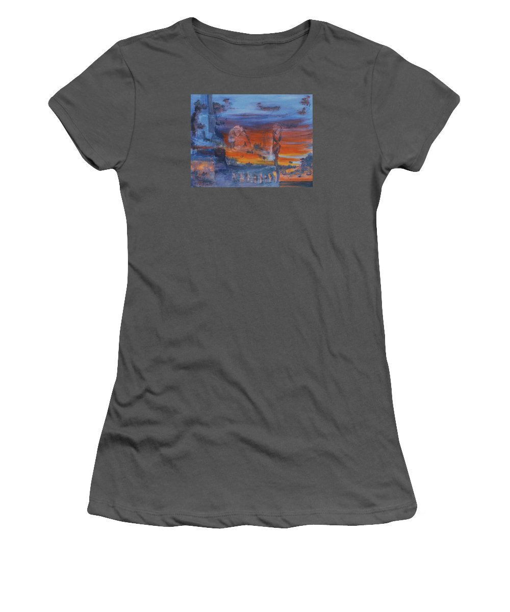 Abstract Women's T-Shirt (Junior Cut) featuring the painting A Mystery Of Gods by Steve Karol