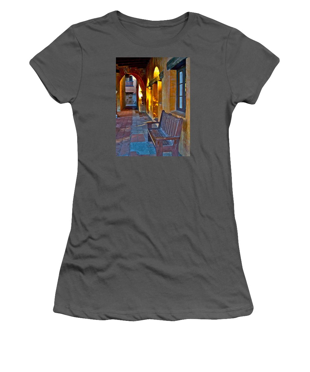 Bench Women's T-Shirt (Athletic Fit) featuring the photograph A Peaceful Resting Place by Karon Melillo DeVega