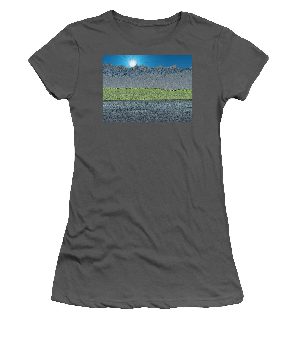 Sailboat Women's T-Shirt (Athletic Fit) featuring the digital art A Perfect Ending by Tim Allen