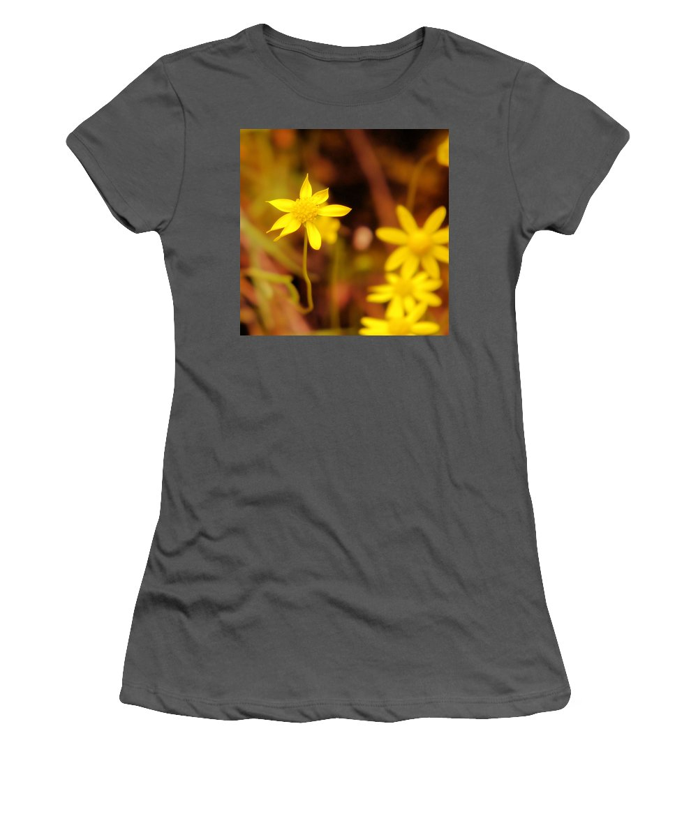 Wild Flowers Women's T-Shirt (Athletic Fit) featuring the photograph A Perky Yellow Flower by Jeff Swan