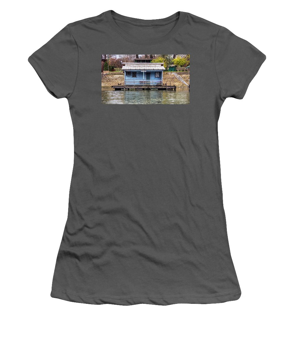 Raft Women's T-Shirt (Athletic Fit) featuring the photograph A Raft House Moored To The Shoreline Of Ada Ciganlija Islet by Bratislav Stefanovic
