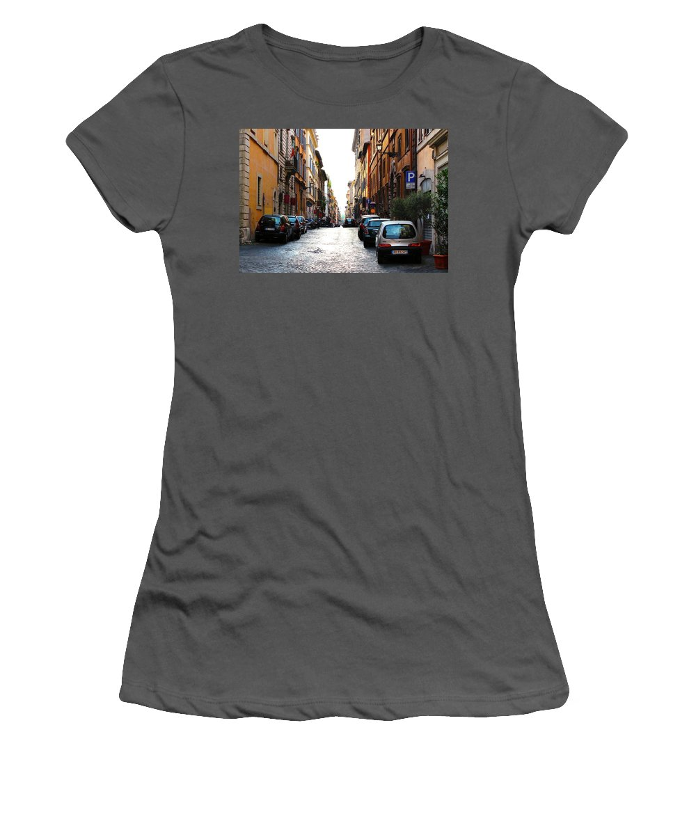 Street Women's T-Shirt (Athletic Fit) featuring the photograph A Rome Street by Meghan Hart