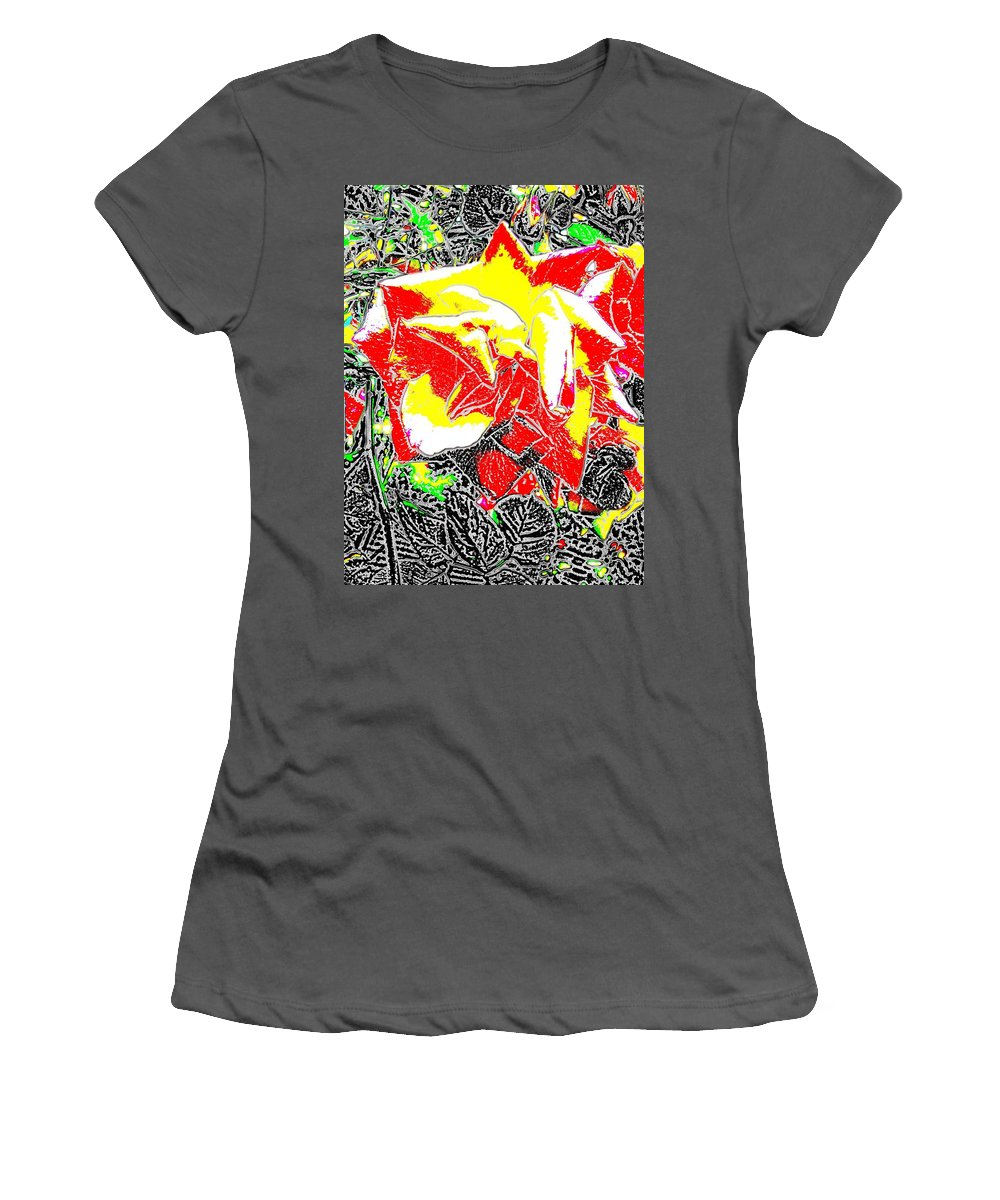 Rose Women's T-Shirt (Athletic Fit) featuring the digital art A Rose Is by Tim Allen
