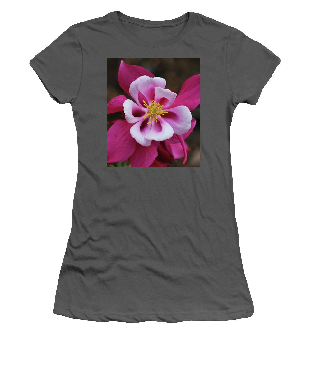 Columbine Women's T-Shirt (Athletic Fit) featuring the photograph A Touch Of Yellow by Lori Tambakis