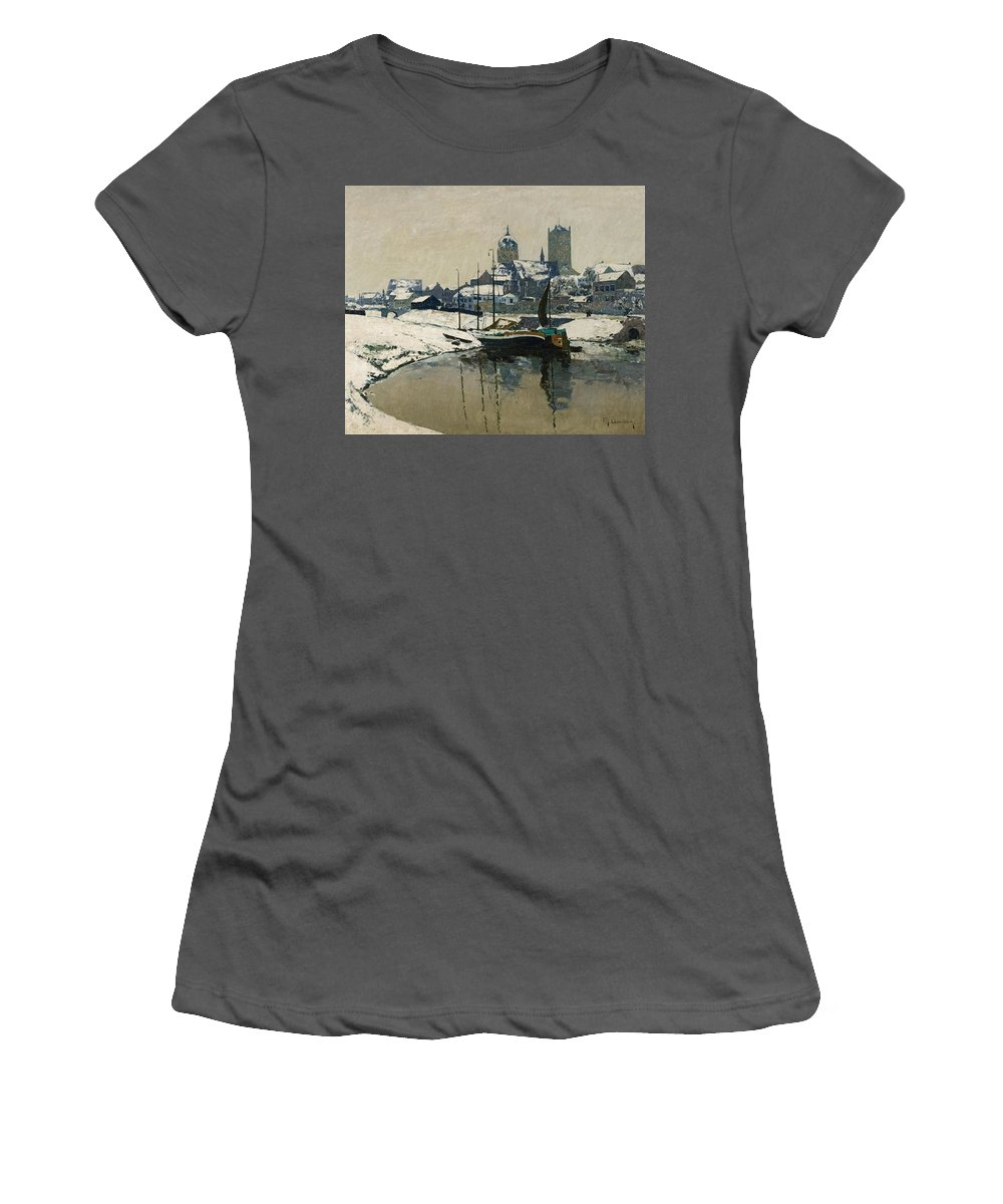 Max Clarenbach Women's T-Shirt (Athletic Fit) featuring the painting A View Of Neuss In Winter by Max Clarenbach