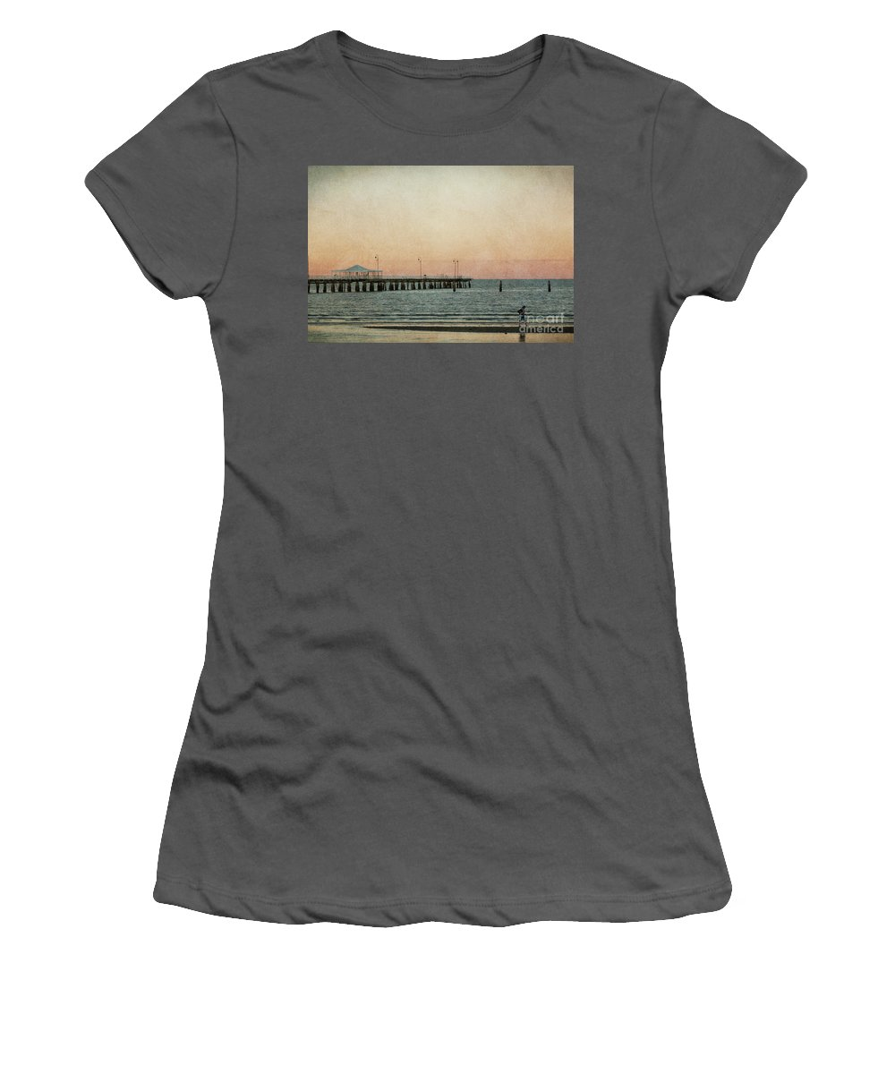 Sunset Women's T-Shirt (Athletic Fit) featuring the photograph A Walk At Sunset by Noelene Kuzman
