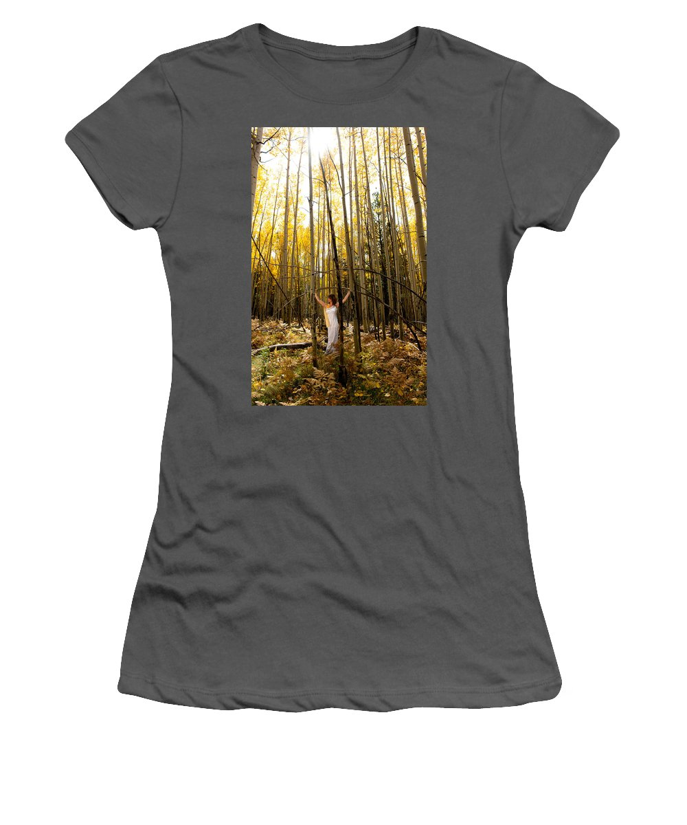 Aspen Women's T-Shirt (Athletic Fit) featuring the photograph A Woman In The Aspen by Scott Sawyer