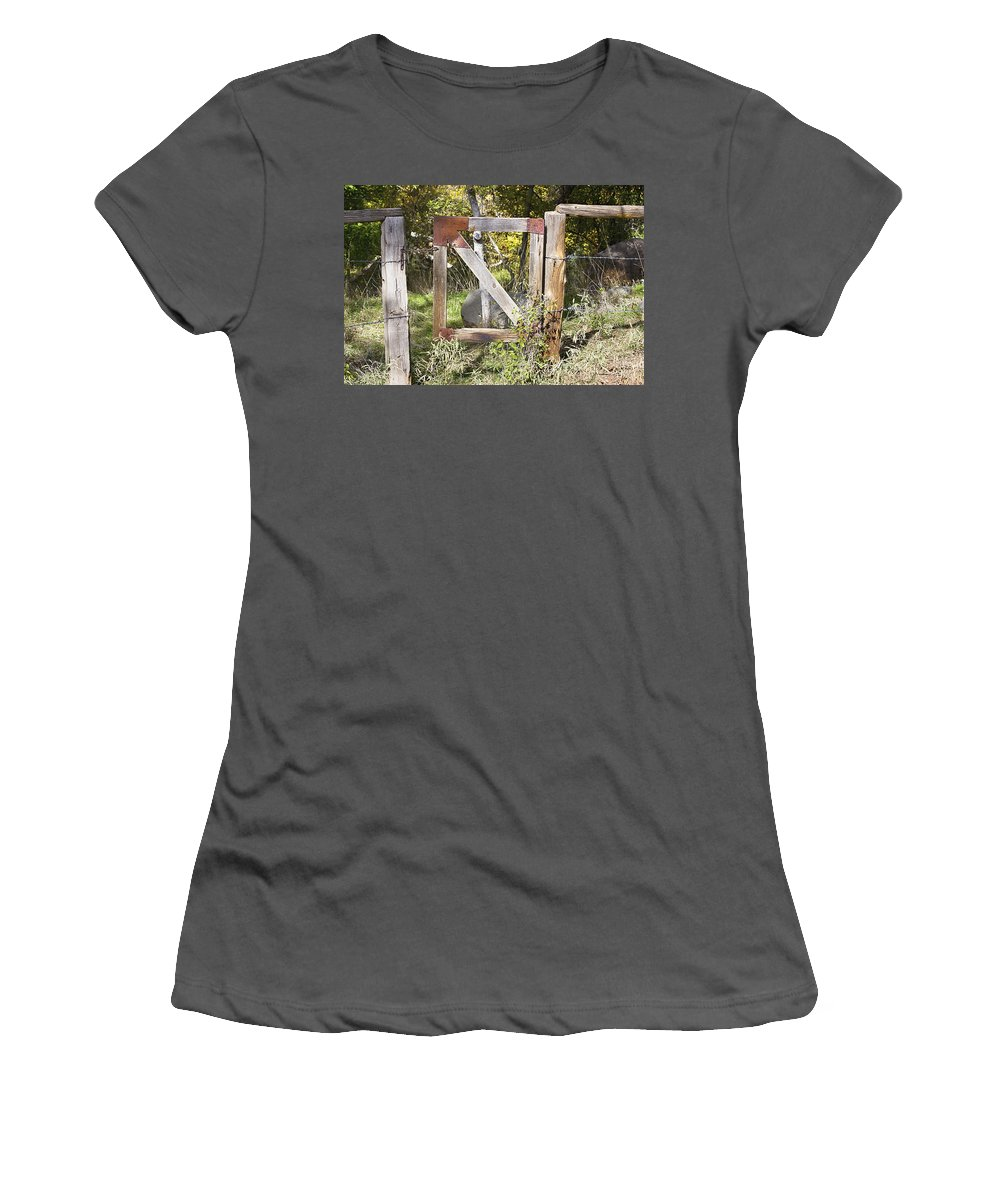 Gate Women's T-Shirt (Athletic Fit) featuring the photograph A Woodsy Gate by Phyllis Denton