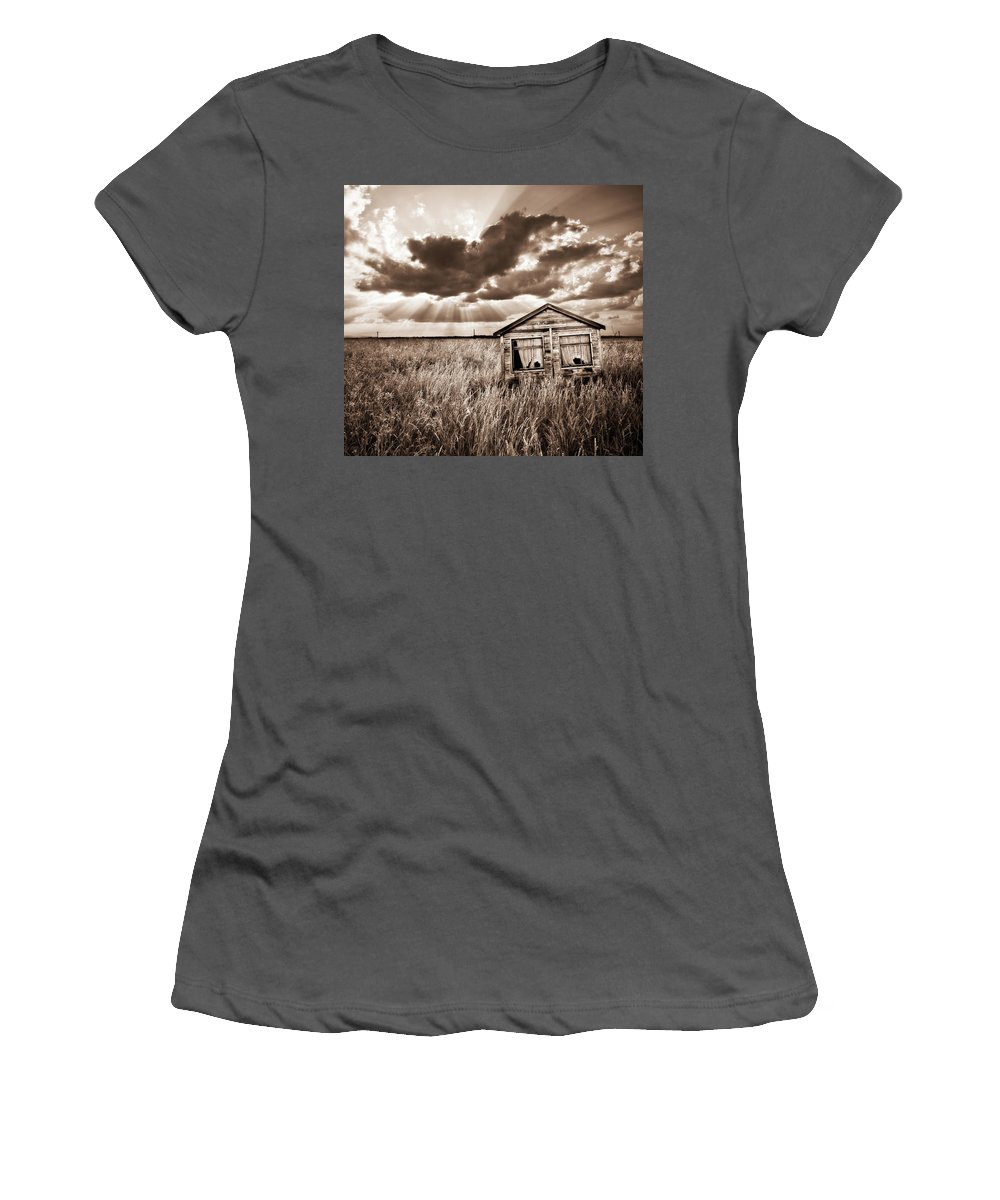Shack Women's T-Shirt (Athletic Fit) featuring the photograph Abandoned by Meirion Matthias