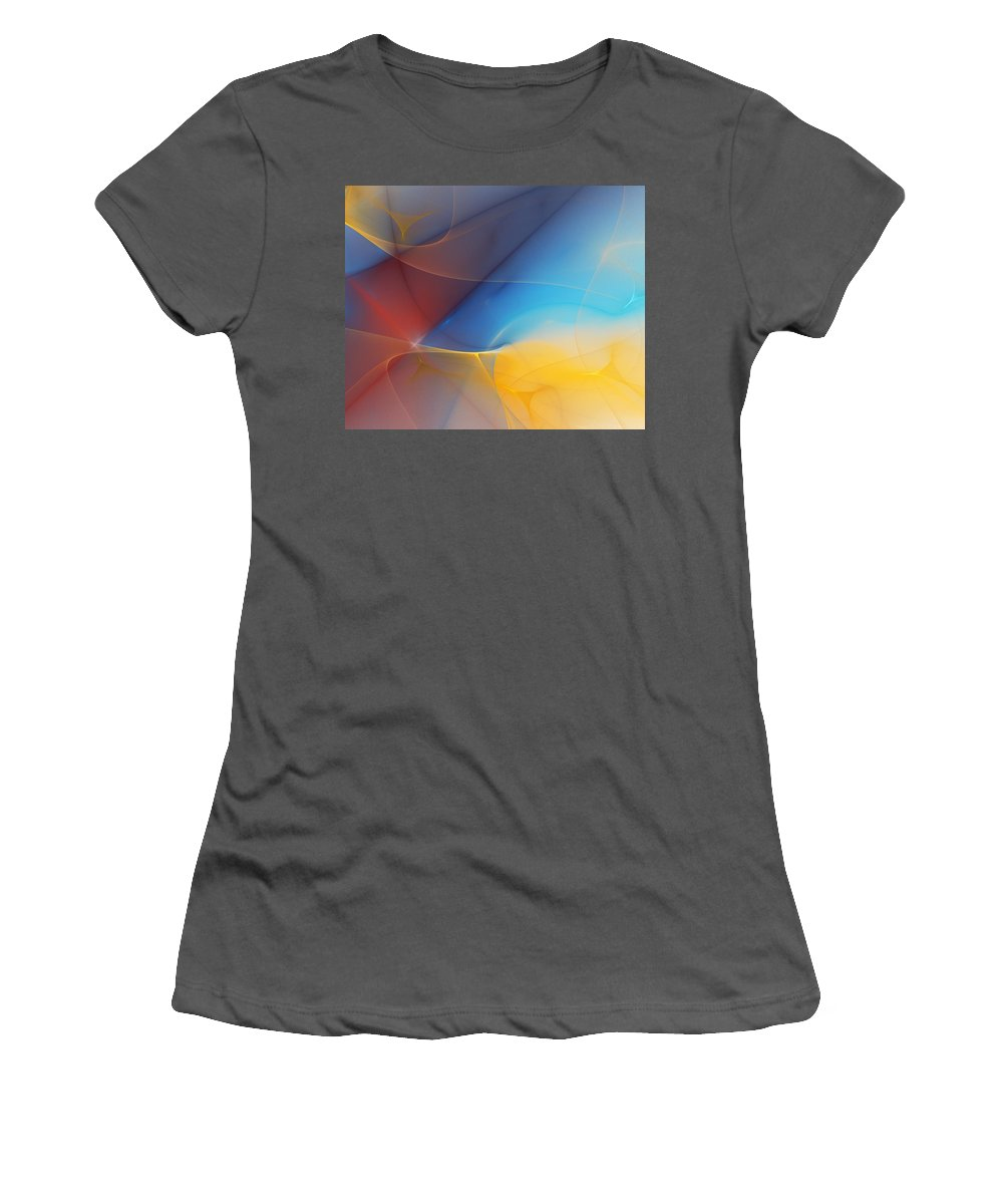 Fine Art Women's T-Shirt (Athletic Fit) featuring the digital art Abstract 060810a by David Lane