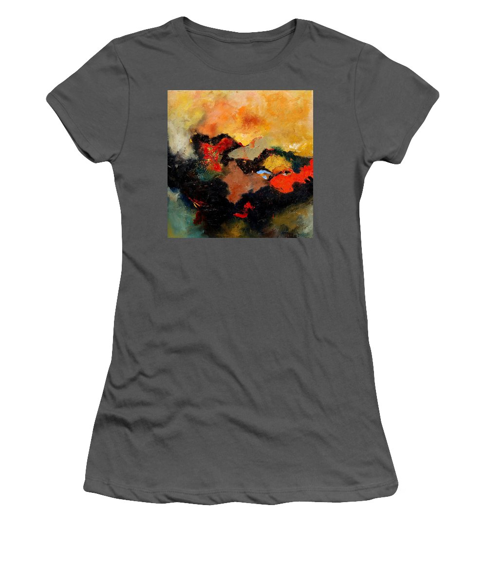 Abstract Women's T-Shirt (Athletic Fit) featuring the painting Abstract 8080 by Pol Ledent