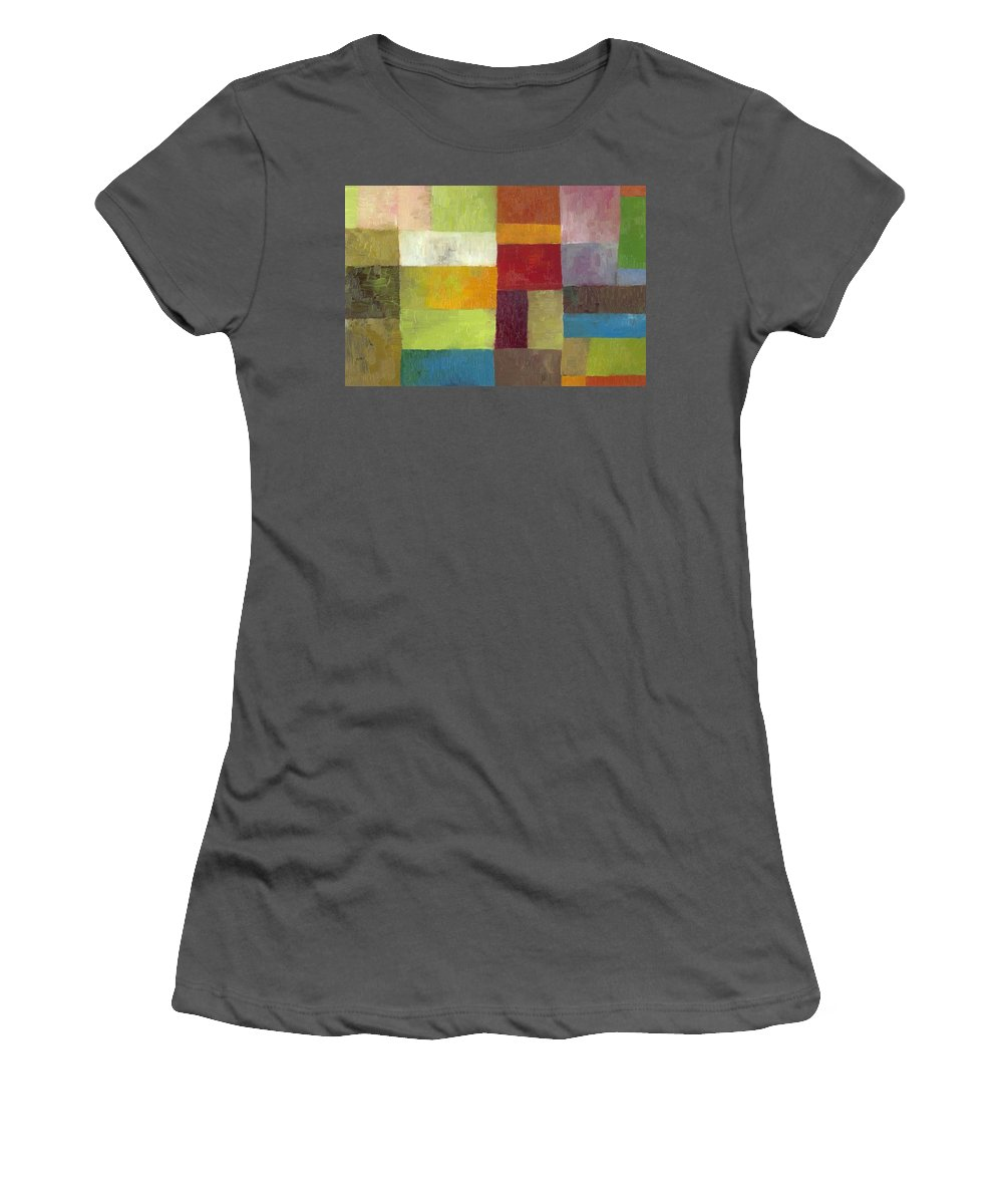 Abstract Women's T-Shirt (Athletic Fit) featuring the painting Abstract Color Study Lv by Michelle Calkins