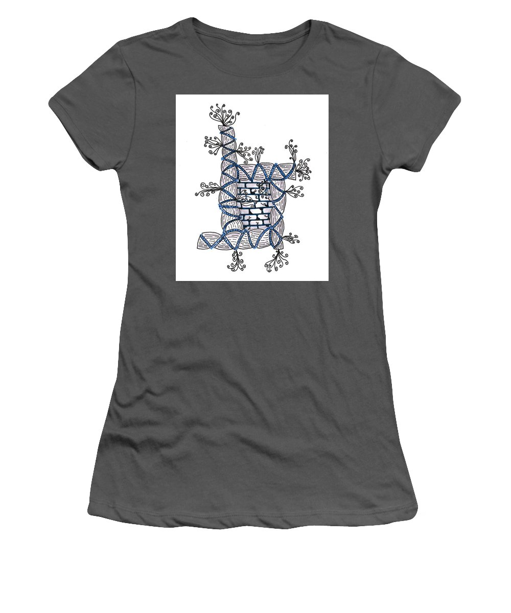 Abstract Women's T-Shirt (Athletic Fit) featuring the drawing Abstract Design Of Stumps And Bricks #2 by Eric Strickland
