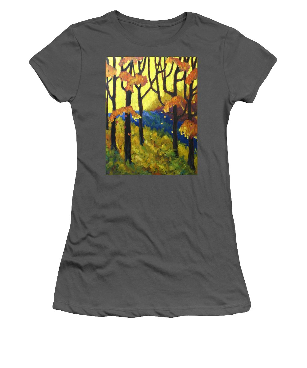 Art Women's T-Shirt (Athletic Fit) featuring the painting Abstract Forest by Richard T Pranke