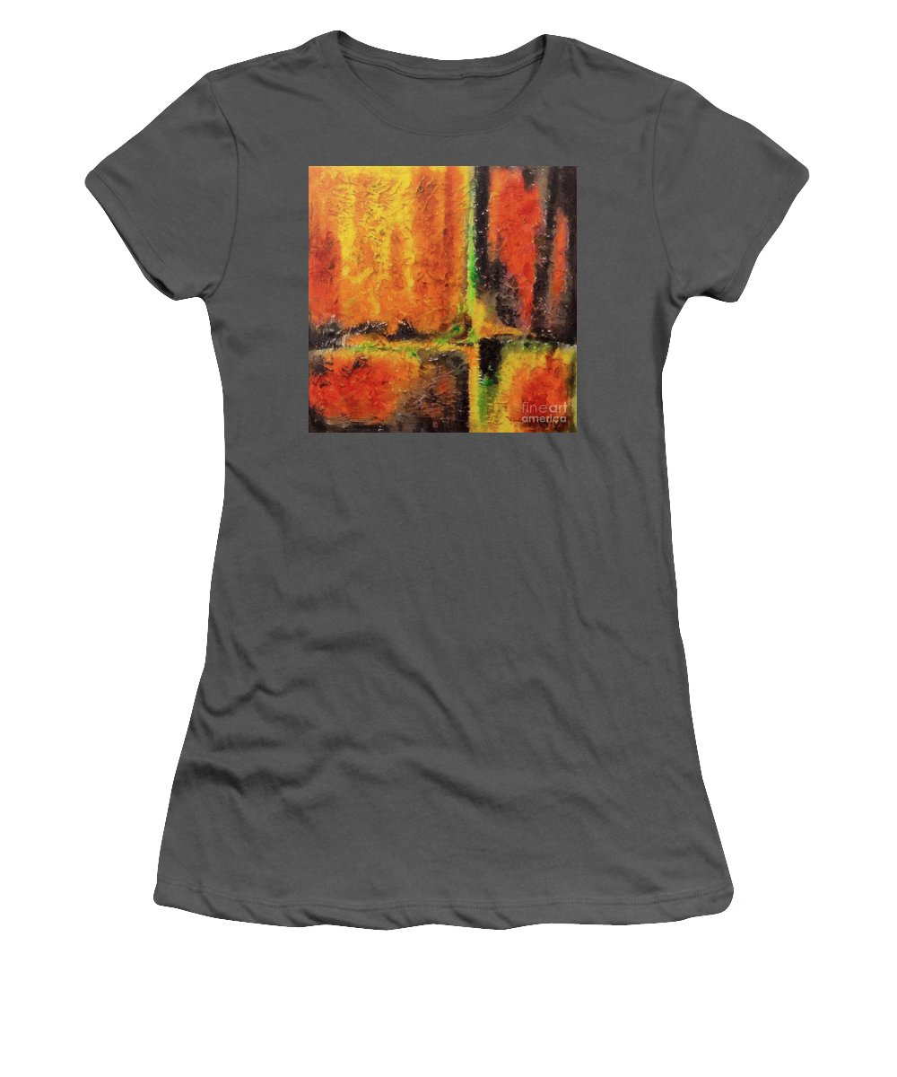 Abstract Women's T-Shirt (Athletic Fit) featuring the mixed media abstract I by Dragica Micki Fortuna