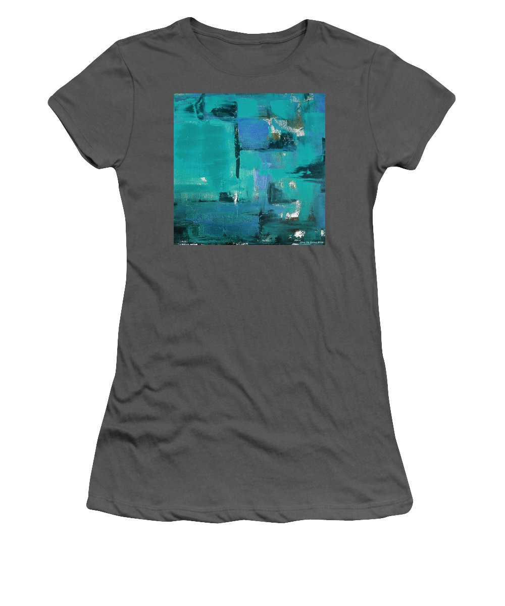 Abstract Women's T-Shirt (Athletic Fit) featuring the painting Abstract In Blue by Gina De Gorna