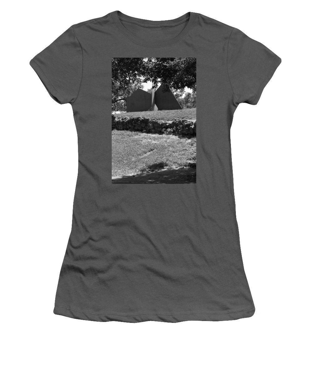 Black And White Women's T-Shirt (Athletic Fit) featuring the photograph Abstract Sculpture by Rob Hans