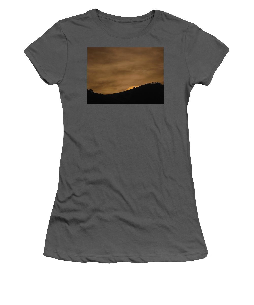 Landscapes Women's T-Shirt (Athletic Fit) featuring the photograph Abstract Sunset At Del Valle by Karen W Meyer
