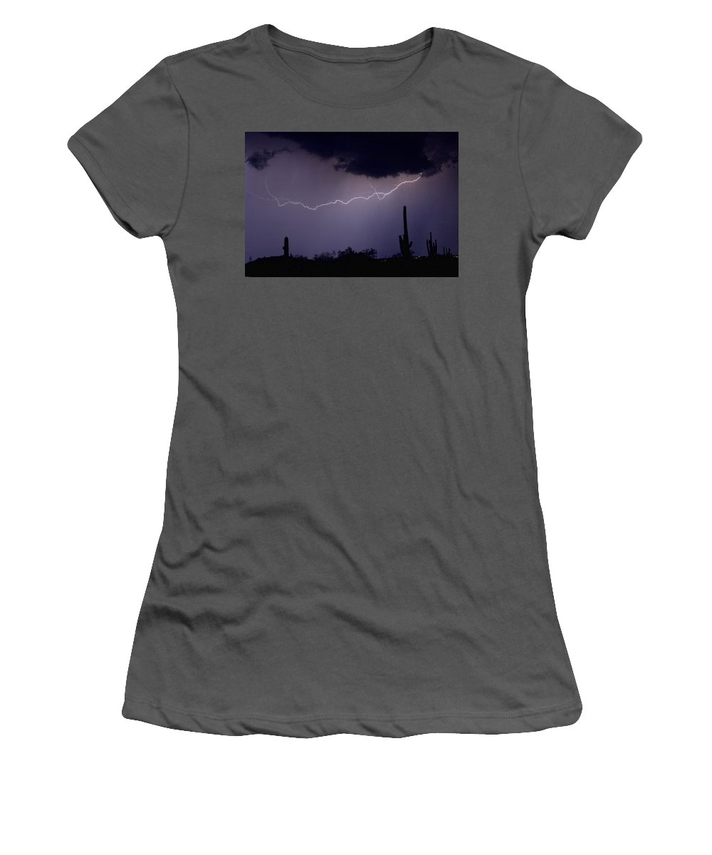 Lightning Women's T-Shirt (Athletic Fit) featuring the photograph Across The Desert by James BO Insogna