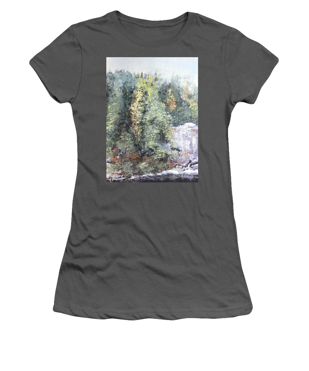 Landscape Women's T-Shirt (Athletic Fit) featuring the painting Across The Ravine by Todd A Blanchard