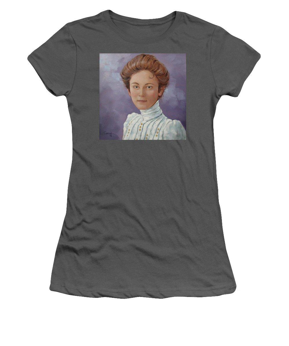 Posthumous Portrait Women's T-Shirt (Athletic Fit) featuring the painting Ada Douglas by Jerrold Carton