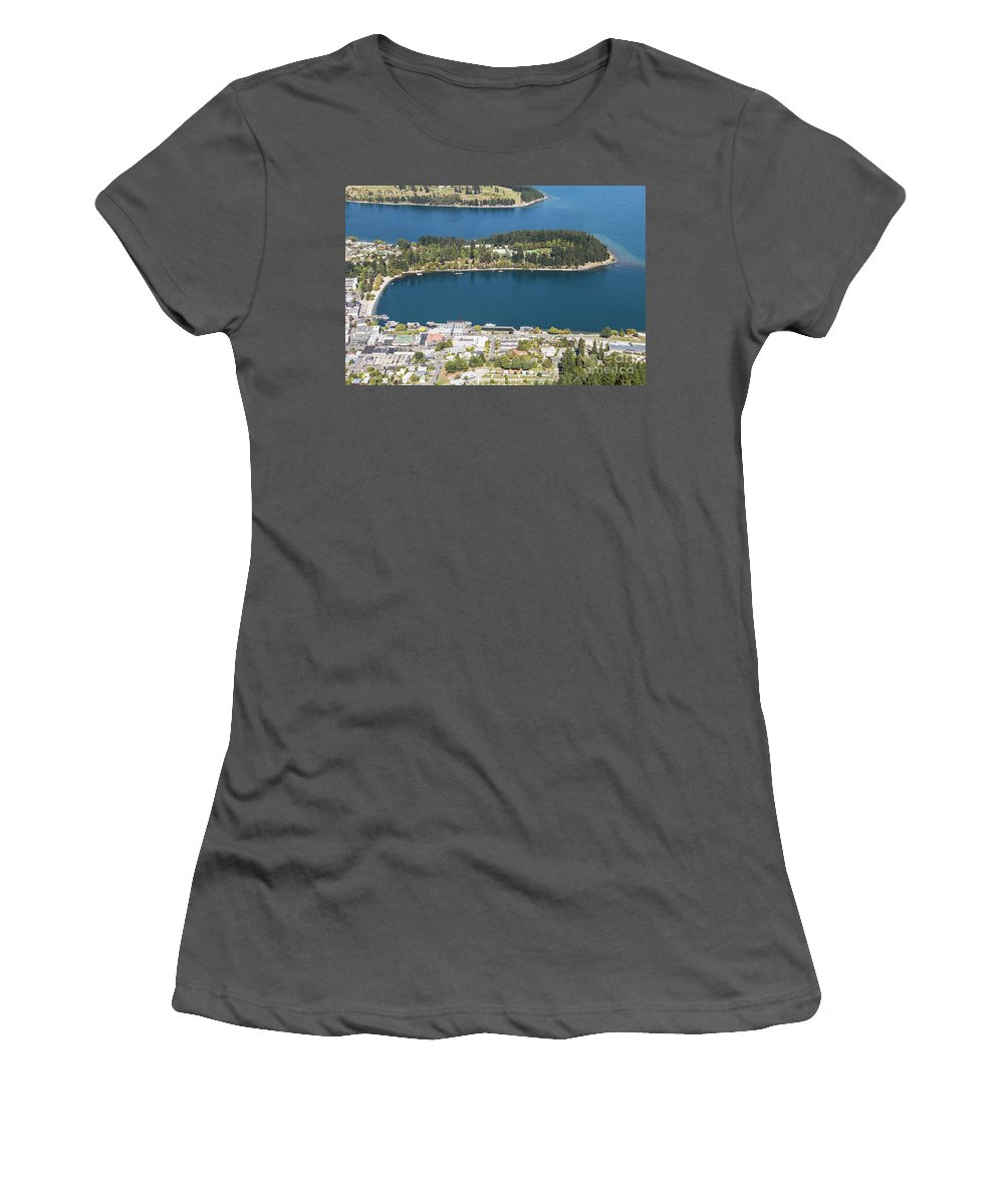 Lake Wakatipu Women's T-Shirt (Athletic Fit) featuring the photograph Aerial View Of Queenstown In New Zealand by Didier Marti