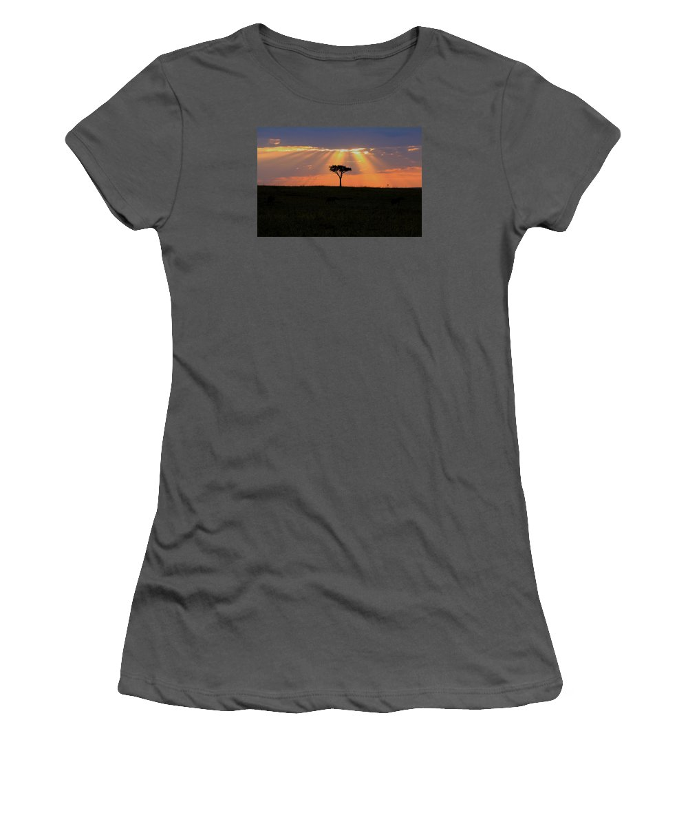 Landscape Women's T-Shirt (Athletic Fit) featuring the photograph African Sunset Rays by Martin Weru