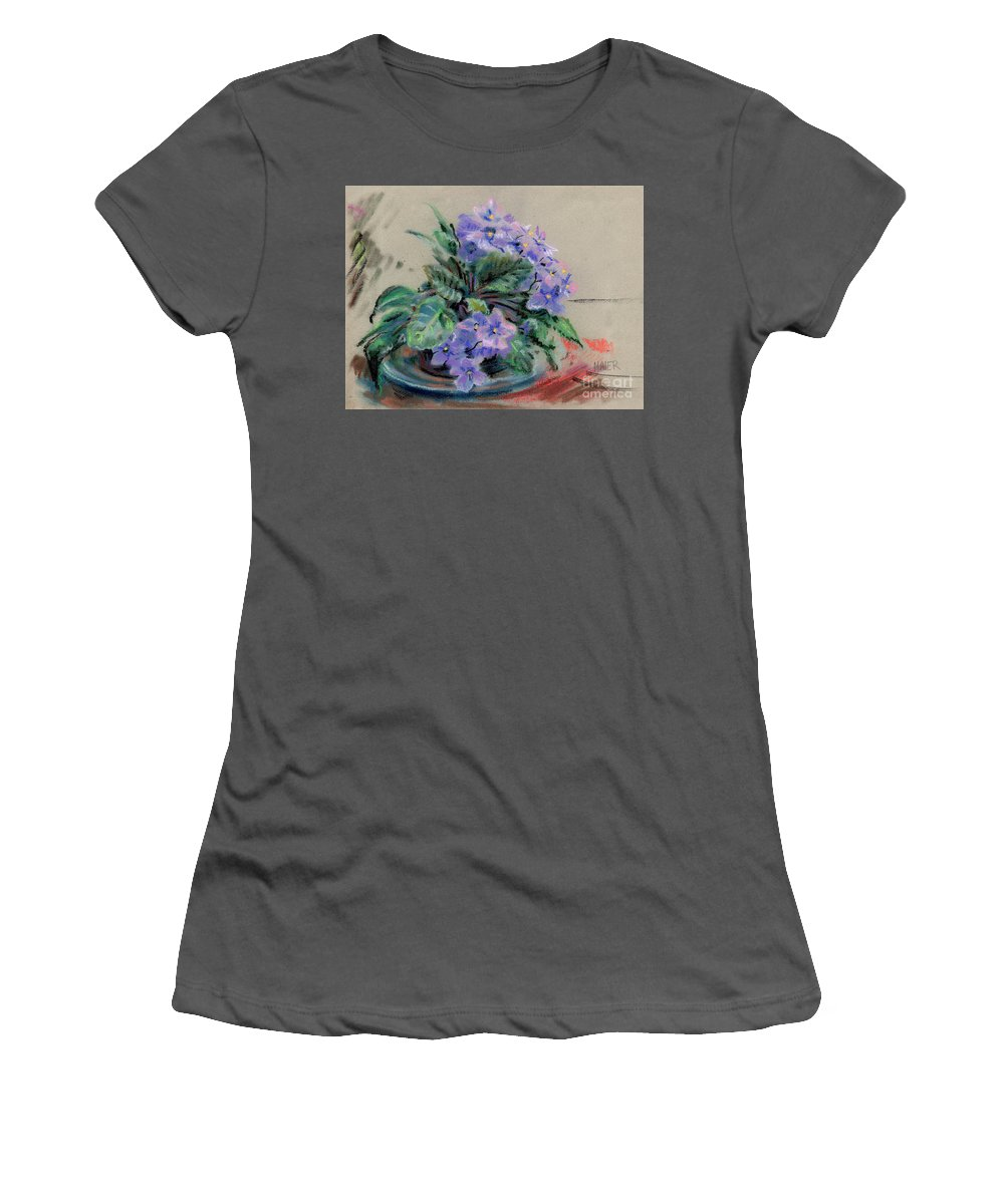African Violets Women's T-Shirt (Athletic Fit) featuring the drawing African Violet by Donald Maier