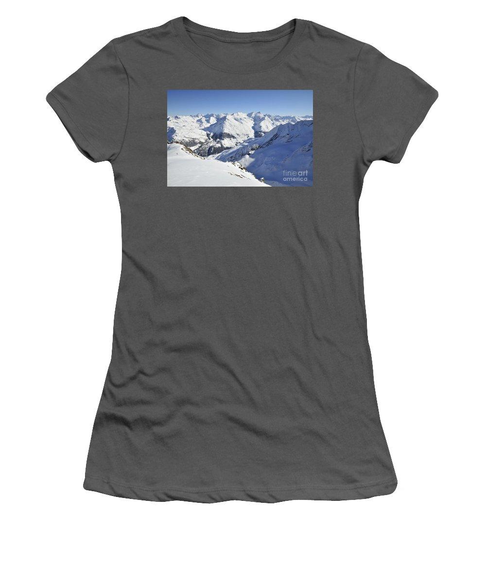 Aiguilles Women's T-Shirt (Athletic Fit) featuring the photograph Aiguilles De La Grande Sassiere by Andy Smy