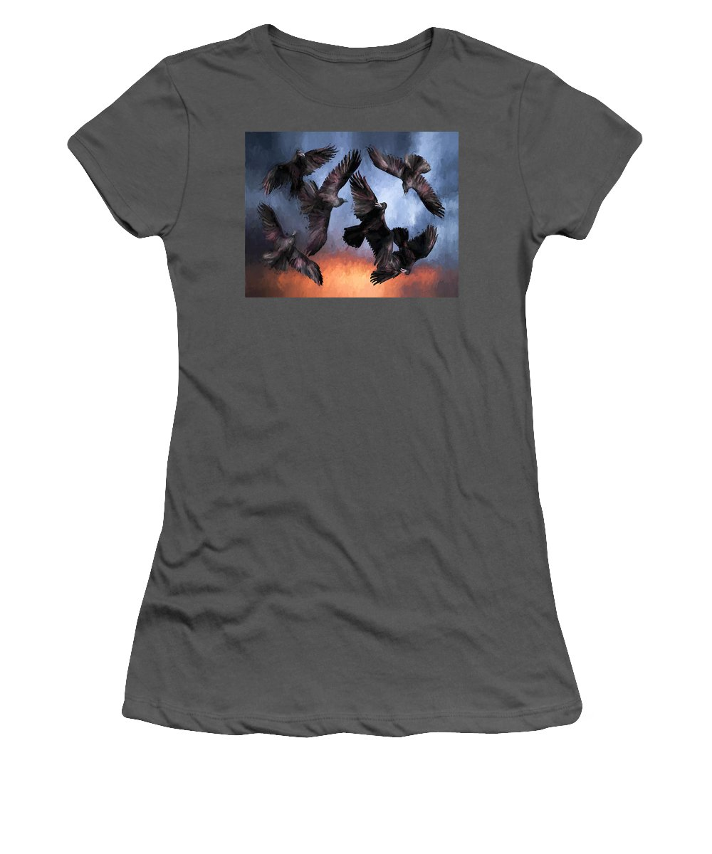 Fine Art Women's T-Shirt (Athletic Fit) featuring the painting Airborne Unkindness by David Wagner