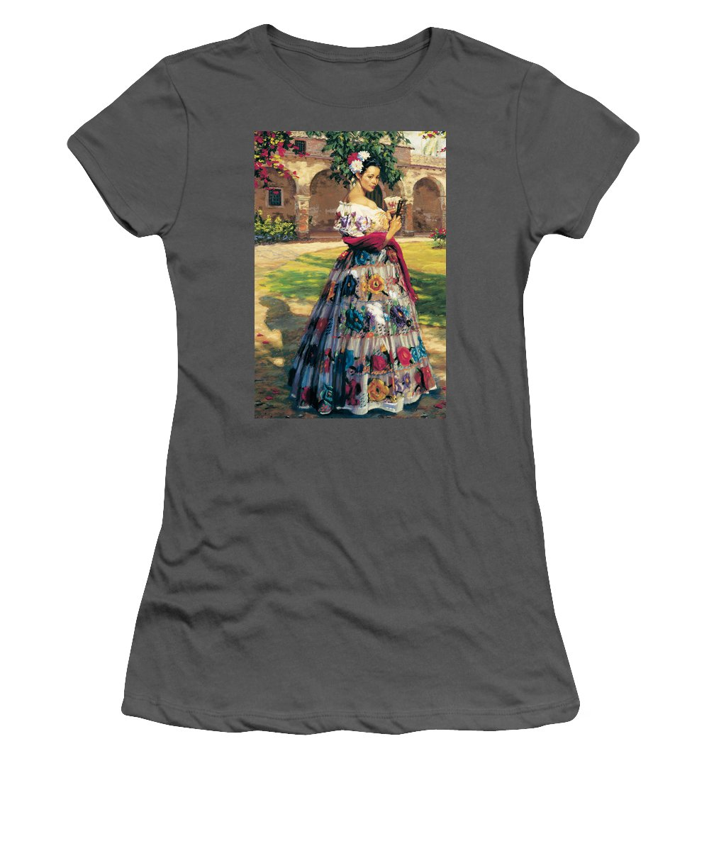 Woman Elaborately Embroidered Mexican Dress. Background Mission San Juan Capistrano. Women's T-Shirt (Athletic Fit) featuring the painting Al Aire Libre by Jean Hildebrant