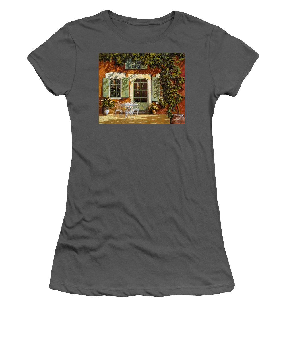 Landscape Women's T-Shirt (Athletic Fit) featuring the painting Al Fresco In Cortile by Guido Borelli