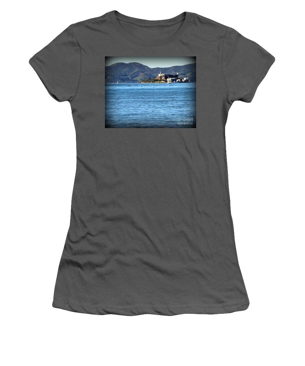 San Francisco Women's T-Shirt (Athletic Fit) featuring the photograph Alcatraz by Joy Patzner