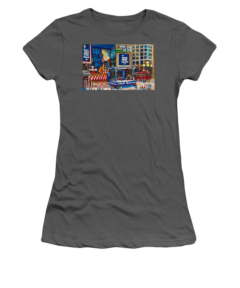 Montreal Women's T-Shirt (Athletic Fit) featuring the painting All That Jazz by Carole Spandau